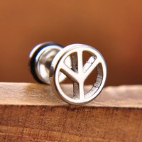 Peace Symbol 316L Stainless Steel Men's Stud Earrings For Man Gift 2014 New Fashion Jewelry Free Shipping