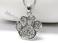 3pcs animal print paw charm pendant crystal necklaces with copper snake chain 5colors dog cat paw design jewelry