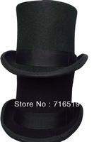 Black high top hat with 15CM 100% wool felt and high quality and fashion wear for men's and ladies and kids for small wholesale