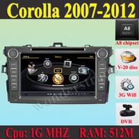 "8"" Car DVD for Toyota Corolla 2007 2008 2009 2010 2011 2012 + 3G WIFI + V-20 Disc + 1GB cpu + DDR 512M RAM + DVR + A8 Chipset"