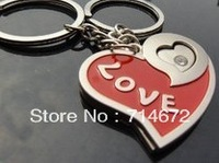 "Free shipping (48PR/LOT )Wholesale ""LOVE"" Heart Keychains Metal Personalized gifts For Lovers Couple Lover keychains"