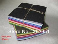 42pcs 30CM*20CM/ pcs Polyester Nonwoven Felt Fabric, DIY Felt Fabric Pack,1MM thick, mixed color wholesale  Free Shipping