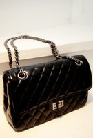 2012 winter small sheepskin female bags small sachet plaid chain bag japanned leather women's bag