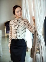 Free Shipping Elegant Korean Style Long Sleeves Women's Chiffon Blouse Summer OL Style Ruffles Embellished Dotted Female Shirts