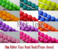 U Pick! 240Pcs 10mm Rubber Glass Round Beads Pattern Glass Loose Beads Simulated Stone Beads Jewelry Accessories