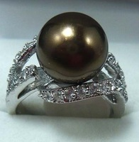 South Seas 10mm coffee sallei pearl ring silver gift 97