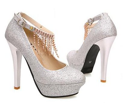 Wedding Party Dress on Wedding With Chain Sexy Ladies Platform Party Pumps Dress Shoes For