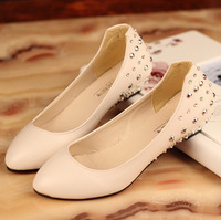 Free shipping Rivet rhinestone shallow mouth small wedges single shoes flat pointed toe female shoes work shoes 2013 spring