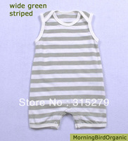 Free shipping wholesale brand  (3 pieces/lot)Naturally colored cotton sleeveless baby boy girl romper-wide green striped