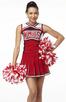 free shipping Ladies Costume Fancy Dress Up Red Cheerleader glee cheerleader costume without pompom