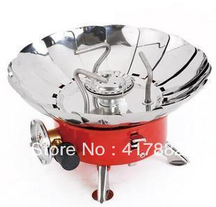 Free shipping: Outdoor windproof stove lotus stove folding camping stoves gas stove electronic strike(China (Mainland))