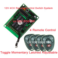 12V 4CH RF Remote Control Switch System. Wireless Receiver&4 Transmitter Learning Code 433Mhz/315Mhz .4 Relay Receiver System