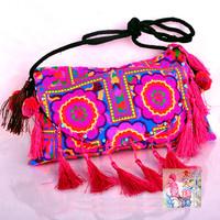 National trend double faced embroidered flip bags fur with silk thread tassel bag shoulder bag messenger bag