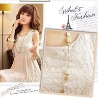 2014 fashion Lace pattern chiffon vest women summer dress cute casual dresses clothing vestidos