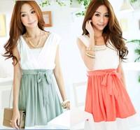 Fashion Solid color Patchwork one-piece dress V-neck slim waist  cute dresses women clothing