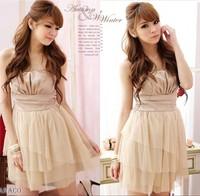 NEW women's sweet high quality sweetheart creased gauze formal dress purple white khaki free shipping