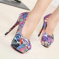 free shipping sexy red bottom high heels fashion ladies shoes woman 2014 spring new platform pumps girls flowers print