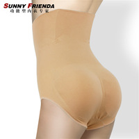 High waist seamless abdomen drawing butt-lifting body shaping pants bottom pants pad abundant buttocks panties 2633