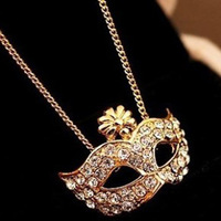Min.order is $15 (mix order) fashion fox mask rhinestone short design necklace