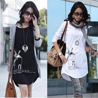 (Free shipping)2013 spring fashion plus size clothing slim long design long-sleeve T-shirt female basic shirt female