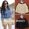 Women's multi-layer lace cutout crochet shorts solid color sexy safety pants basic skirt pants Size S(China (Mainland))
