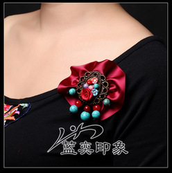 Accessories national trend candy color brooch handmade fabric corsage turquoise polymer clay flower corsage(China (Mainland))