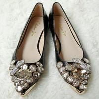 2013 genuine leather flats rhinestone casual shoes pointed toe flat-bottomed female wedding shoes flat heel plus size 34-43