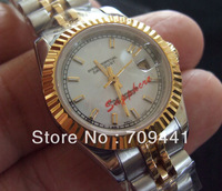 18K Gold &amp; Steel Ladies Automatic Watch Sapphire Glass White Dial Women Watch New Style Clasp Water Resistant