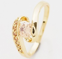 Pretty 14k Solid Yellow Gold Citrine Ring Wedding Womens Engagement Rings P295, Size7.5,2014 fashion jewelry,Pretty items