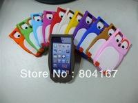 100 pcs/lot, new cute 3D owl soft silicone back cover case for iphone 5 ,5g dhl free shipping