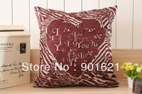 Free shipping Novelty Wedding Gift Red Love Heart pattern linen cushion cover car home decorative pillow case