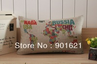 Free shipping high quality linen novelty Words World Map Pattern Cushion Cover Decorative Throw Pillow Case
