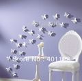 Free shipping  (10 pcs / pack ) DIY 3D Wall Sticker butterfly Home Decor Room Decorations Decals Color White