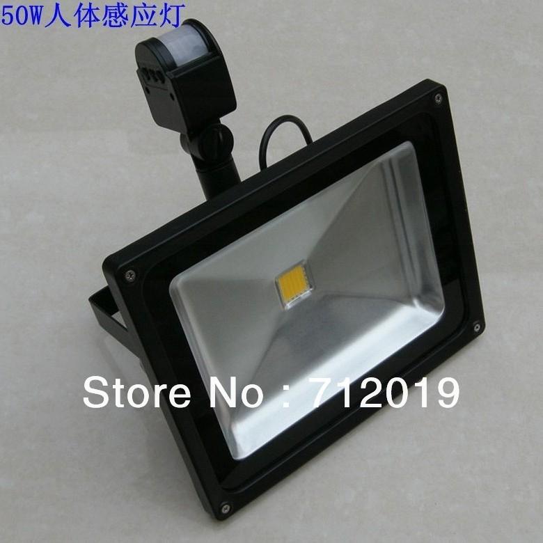 New Arrival Flood Light 50W PIR Motion Detective Sensor LED Floodlight Waterproof Outdoor Black Gray Free Shipping(China (Mainland))