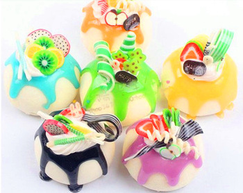 free shipping 20pcs/lot  Small soft fruit small pudding cake Squishy Cell Phone Charm/bag charm /squishy buns