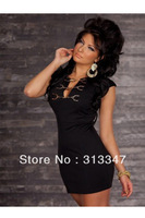 2 colors Pretty women mini dress with chain Fashion clubbing wear Sexy fancy costume Black blue M100