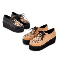 2014 NEW Faux Suede Leopard Vamp Lace Up Punk Goth High Platform Flat Creeper Shoes US SIZE 5-10.5