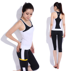 black Yoga clothes set fitness clothing aerobics clothing female brand sport suit women kc Free shipping(China (Mainland))