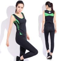 Yoga clothes set fitness clothing 2014 summer aerobics clothing female brand sport suit women Free shipping