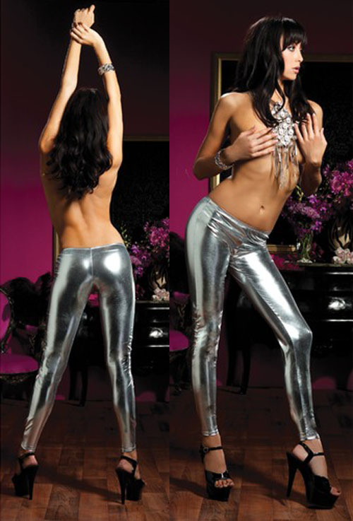 Metal sexy gold silver light matt faux leather pants paint coating tight legging costumes(China (Mainland))