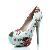 New 2014 Top 15cm High Heels Open Toe Cotton Prints Flower Platform Women's Shoes Wedding Sapatilhas Femininos Wedges