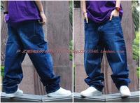 Free Shipping 2015 New Fashion Men Hip Hop Classic Denim Blue Loose Men Harem Skateboard Jeans Men Baggy Pants