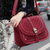 2013 three-dimensional fashion cross-body one shoulder female man-made geniune leather hand bag black and white