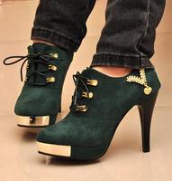 Spring velvet stiletto single shoes fashion round toe lacing sexy platform women shoes/173
