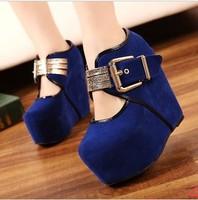 2013 spring and autumn platform wedges single shoes women's shoes metal hasp ultra high heels velvet/174