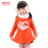 MICKEY children's clothing female child 2013 spring child plus velvet sweatshirt legging twinset