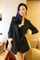 2012 female Dark Blue suit jacket thin suit medium-long ,Free shipping