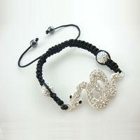 Free Shipping New wholesale Shambala Charm Disco Ball Bead Bracelet with snake New T-Paris Shambhala Rhinestone Crystal  Jewelry