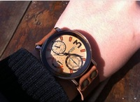 Free shipping wholesales 1 lot/6pcs genuine leather handicraft student watch vintage style wristwatch factory direct sales