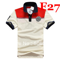 Free shipping 2013 new men's summer POLO T-shirts man fashion casual cotton F short-sleeved T-shirts----T0016